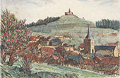 Vy över Sarrebourg - Rocher de Dabo - Moselle (Frankrike)