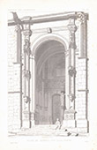 Architect's Drawing - Church of Vétheuil - Porch - XVIth Century - Val-d'Oise (France)