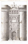 Drawing of Architect - Architecture - Triumphal Arch of Alfonso V of Aragon to the Castel Nuovo of Naples (Italy)