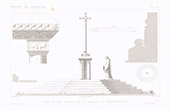 Architect's Drawing - Cross - XIIth Century - Cemetery of Puiseaux - Loiret (France)