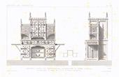 Architektenzeichnung - Schloss Marienburg - Salon der Prinz - Sekretär - Niedersachsen - Deutschland (M. Opper)