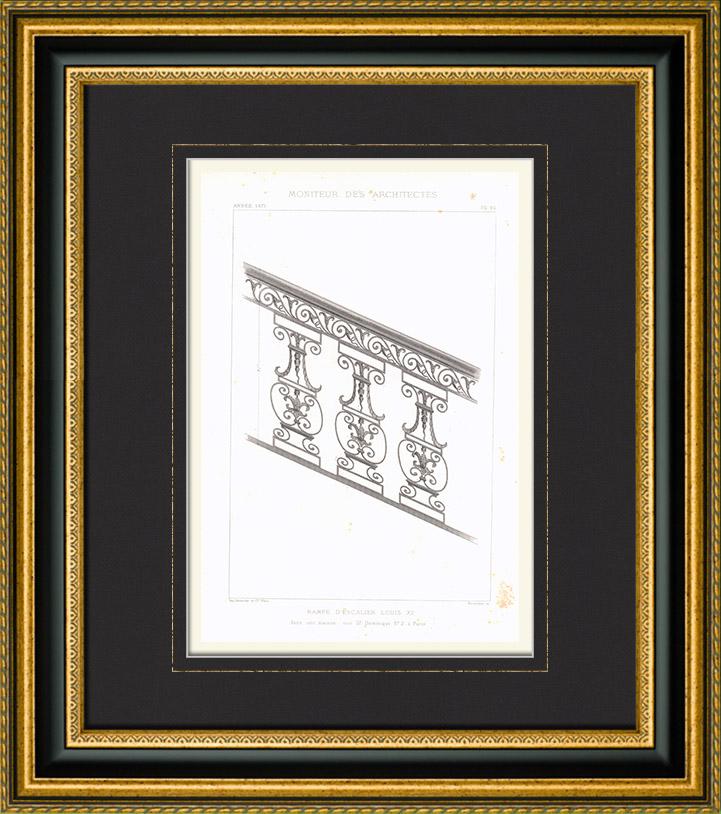 gravures anciennes dessin d 39 architecte ferronnerie rampe d 39 escalier louis xv france. Black Bedroom Furniture Sets. Home Design Ideas
