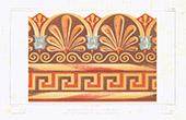 Architektenzeichnung - Fragment von Dachrinne aus Terrakotta - Römischen Campagna (Italien)