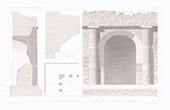 Architektenzeichnung - Tivoli - Atrium Säulenhalle - Villa von Maecenas - Latium (Italien)