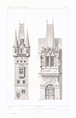 Architektenzeichnung - Turm - Tour de l'Orage in Laun - Böhmen (Österreich)