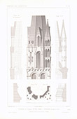 Architect's Drawing - Steeple of the Church Notre-Dame-du-Fort in Etampes - Essonne (France)