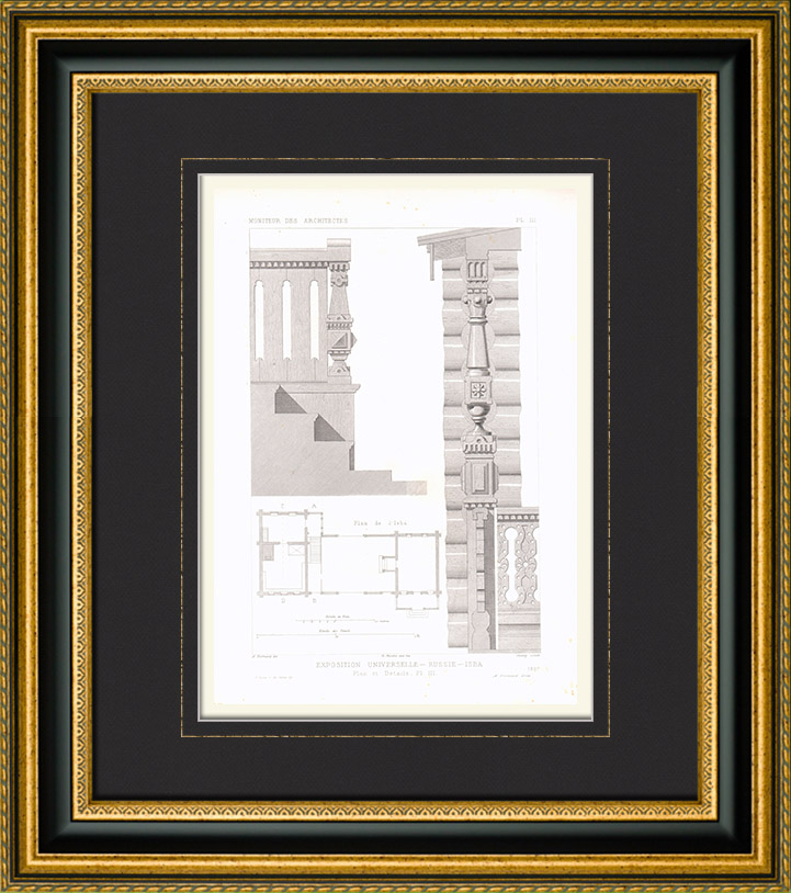 Antique Prints & Drawings | Architect's Drawing - Universal Exposition - Izba - Russian dwelling (Russia) | Intaglio print | 1867