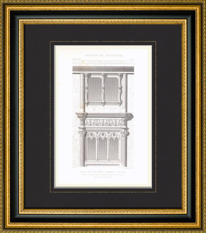 Stampe Antiche & Disegni | Disegno di Architetto - Hôtel Lallemant - Bourges - Cher (Francia) | Stampa calcografica | 1870
