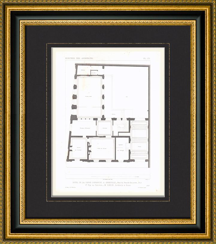 Gravures anciennes dessin d 39 architecte h tel de la for Architecte abbeville