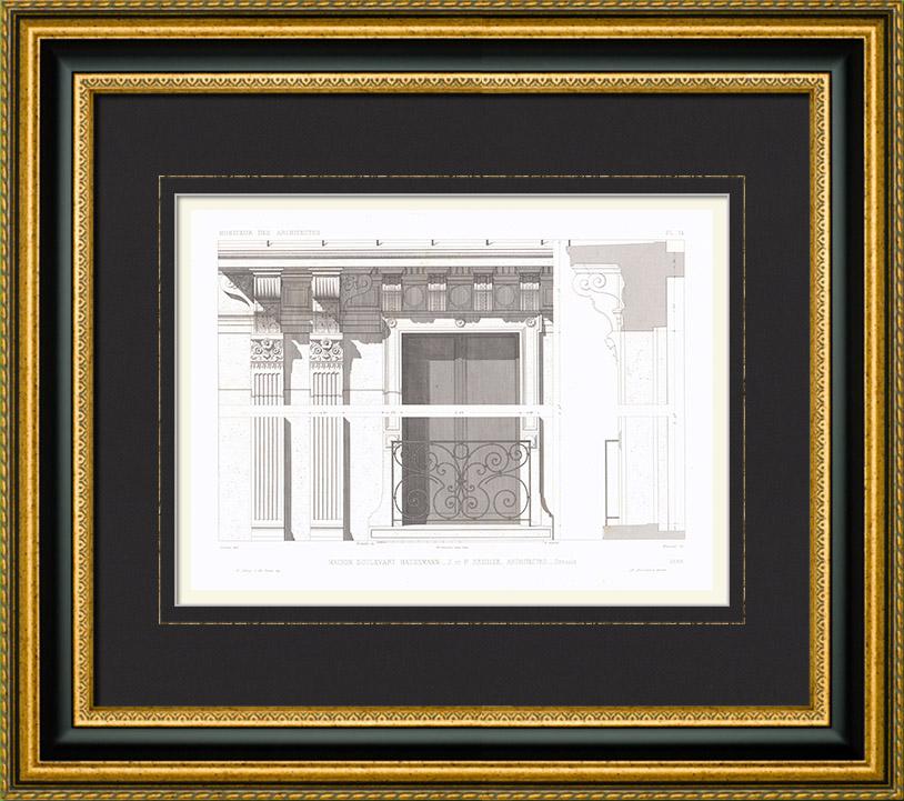 Antique Prints & Drawings | Architect's Drawing - House - Boulevard Haussmann - Paris (J. and P. Sedille) | Intaglio print | 1866