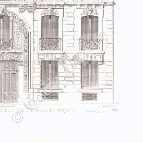 Gravures anciennes dessin d 39 architecte maison for Dessin architecte maison