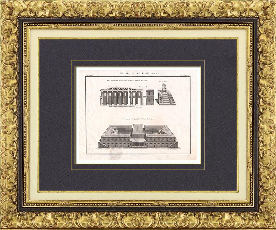 alte stiche plan palast libanon zeder salomo p. Black Bedroom Furniture Sets. Home Design Ideas