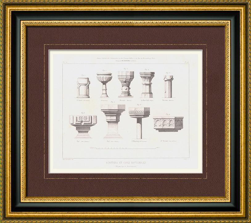 Gravures Anciennes & Dessins | Dessin d'Architecte - Bénitiers - Baptistères - Moyen Age - Renaissance | Taille-douce | 1853