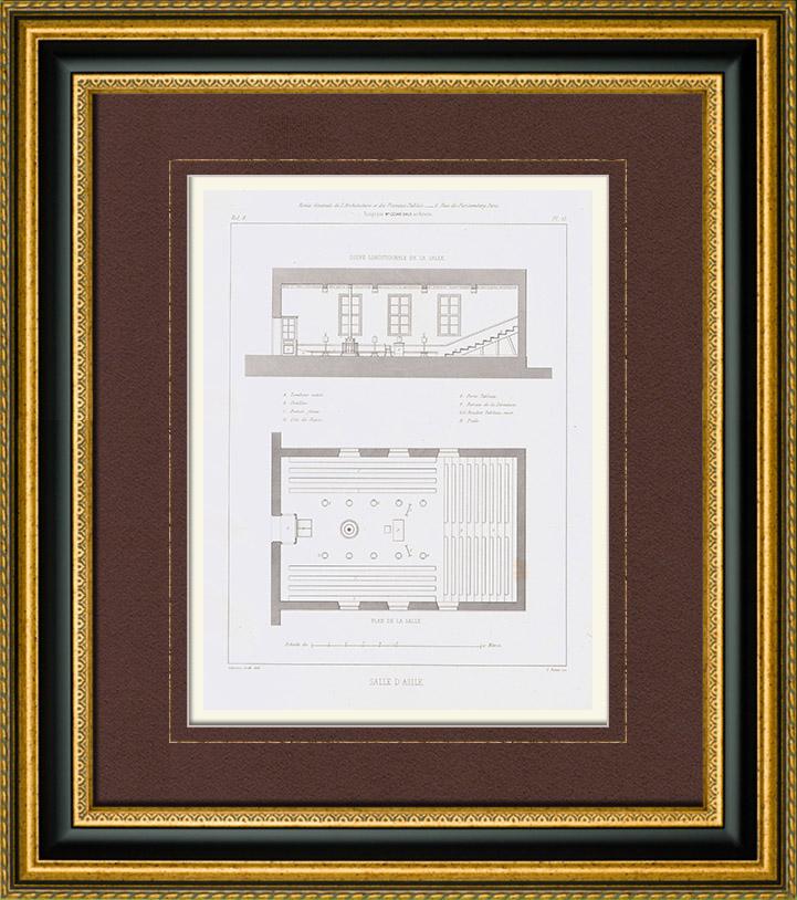 Antique Prints & Drawings | Architect's Drawing - Asylum | Intaglio print | 1848