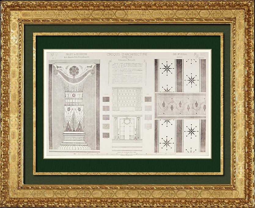 Gravures Anciennes & Dessins   Dessin d'Architecte - Croquis - Projet - Décoration (M. Duban Architecte)   Autogravure   1871