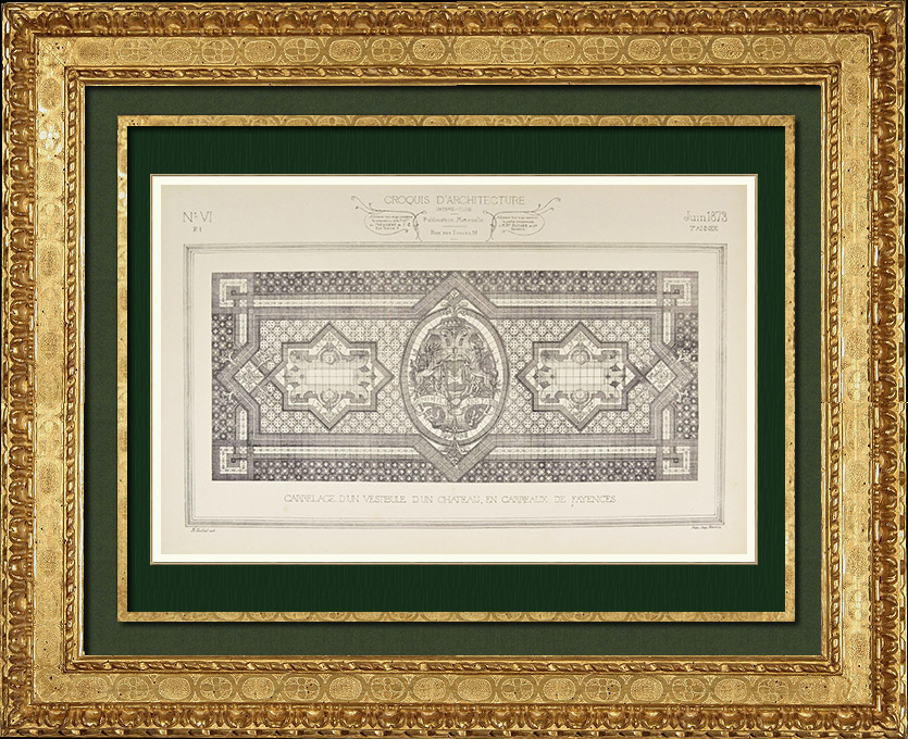 Gravures Anciennes & Dessins   Dessin d'Architecte - Croquis - Carrelage - Faïence   Autogravure   1873