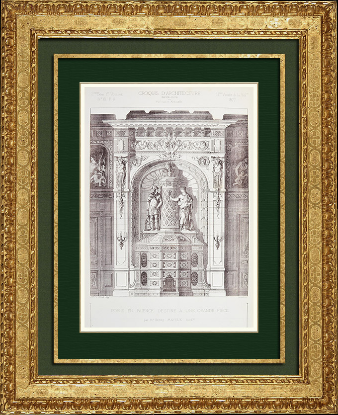 Antique Prints & Drawings | Architect's Drawing - Sketch - Faience Stove (Henri Mayeux) | Autogravure | 1877
