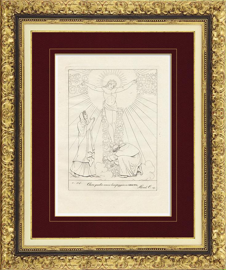 Gravures Anciennes & Dessins | Divine Comédie - Dante - Le Paradis - Chapitre XIV - Ciel de Mars - Bienheureux - Croix - Christ | Gravure sur cuivre | 1813