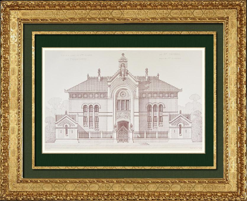Gravures Anciennes & Dessins   Dessin d'Architecte - Un Presbytère (M. Devienne Architecte)   Autogravure   1875