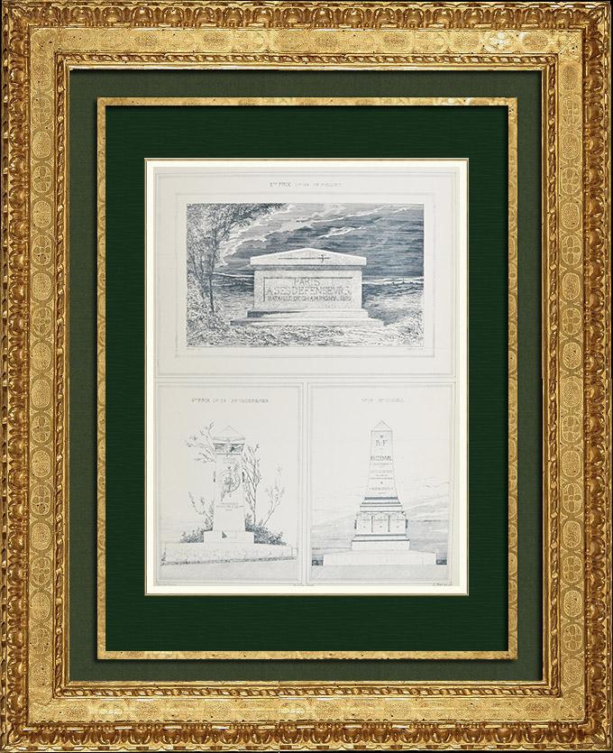 Gravures Anciennes & Dessins   Dessin d'Architecte - Monument commémoratif de la Défense de Paris (MM. Mellet - Vaudremer - Coisel Architectes)   Autogravure   1880