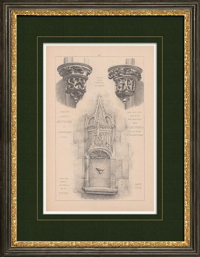 Gravures Anciennes & Dessins | Église Saint-Antoine de Compiègne - Oise (France) | Impression | 1892