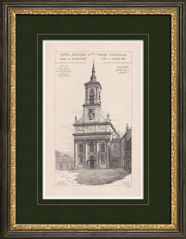 Gravures Anciennes & Dessins | Église Notre-Dame-de-Bonsecours à Nancy - Meurthe-et-Moselle (France) | Impression | 1900