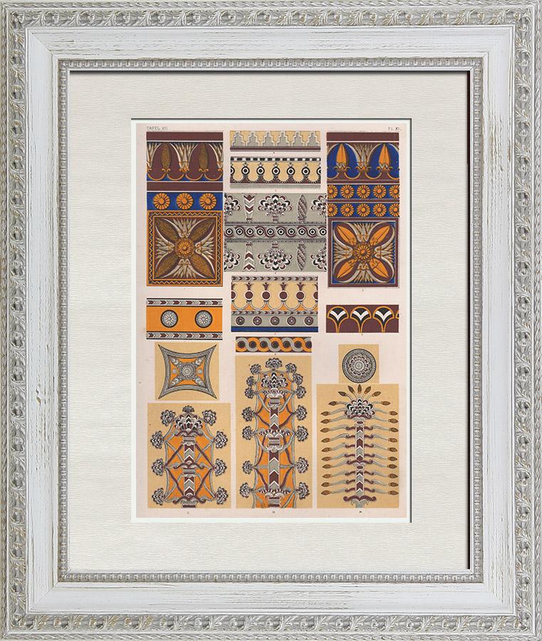 Gravures Anciennes & Dessins | Arts décoratifs - Assyrie et Perse - Ninive | Chromolithographie | 1865