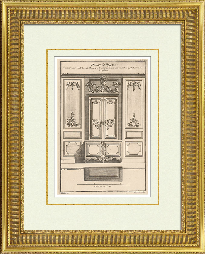 Antique Prints & Drawings   Antique Furniture - Woodworking - Sideboard - Carved Wood - Decoration   Heliotypie   1920