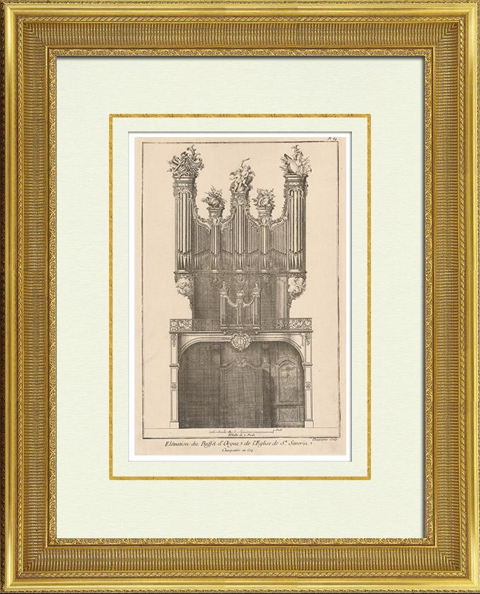 Gravures Anciennes & Dessins   Meubles Liturgiques - Buffet d'Orgues - Eglise Saint-Séverin - 5ème Arrondissement de Paris   Héliotypie   1920