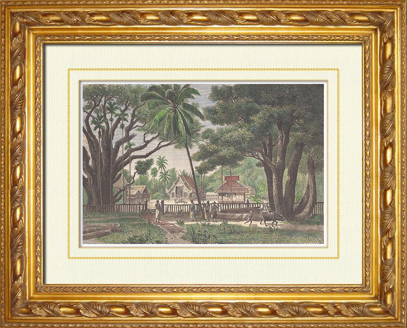 Gravures Anciennes & Dessins   Pagode Royale à Bassac - Indochine Française (Viêtnam)   Gravure sur bois   1870