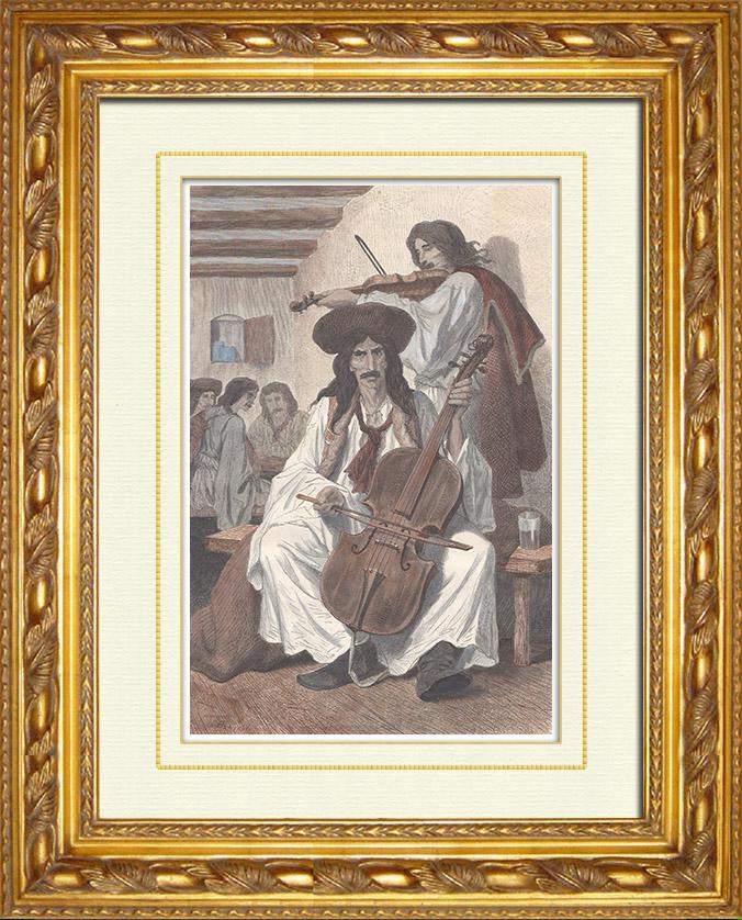 Gravures Anciennes & Dessins | Musiciens Tsiganes - Violoncelle - Osijek - Confins Militaires - Vojna Krajina (Croatie) | Gravure sur bois | 1870