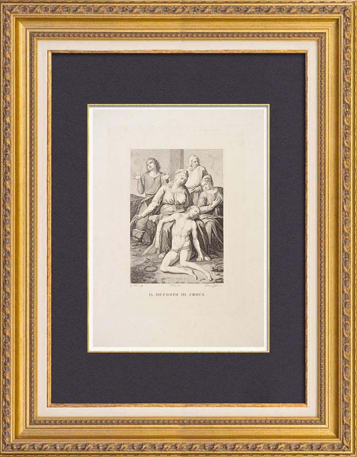 Gravures Anciennes & Dessins | La Déposition de Croix - La Descente de Croix - Jésus Christ (Giulio Clovio) | Gravure à l'eau-forte | 1837