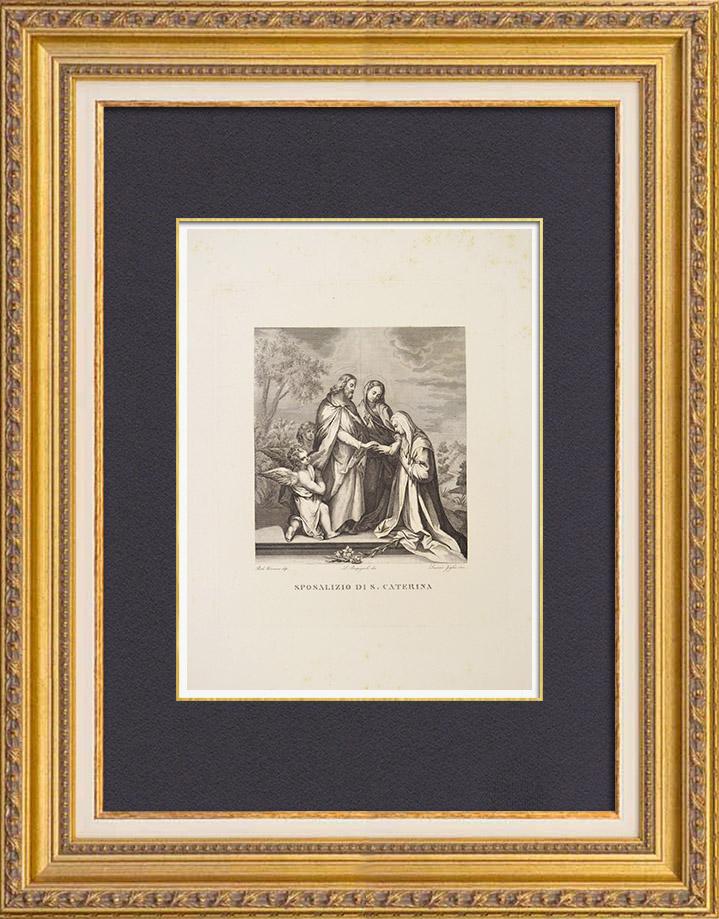Gravures Anciennes & Dessins | Le Mariage Mystique de Sainte Catherine (Véronèse) | Gravure à l'eau-forte | 1837
