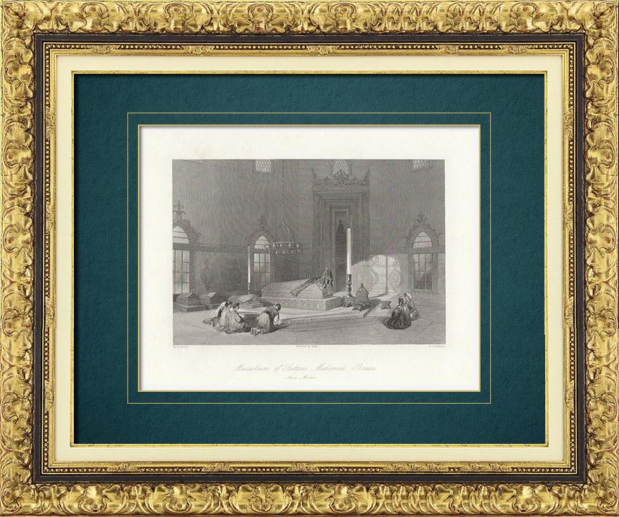 Gravures Anciennes & Dessins | Mausolée du Sultan Mehmed Ier à Bursa (Turquie) | Taille-douce | 1841
