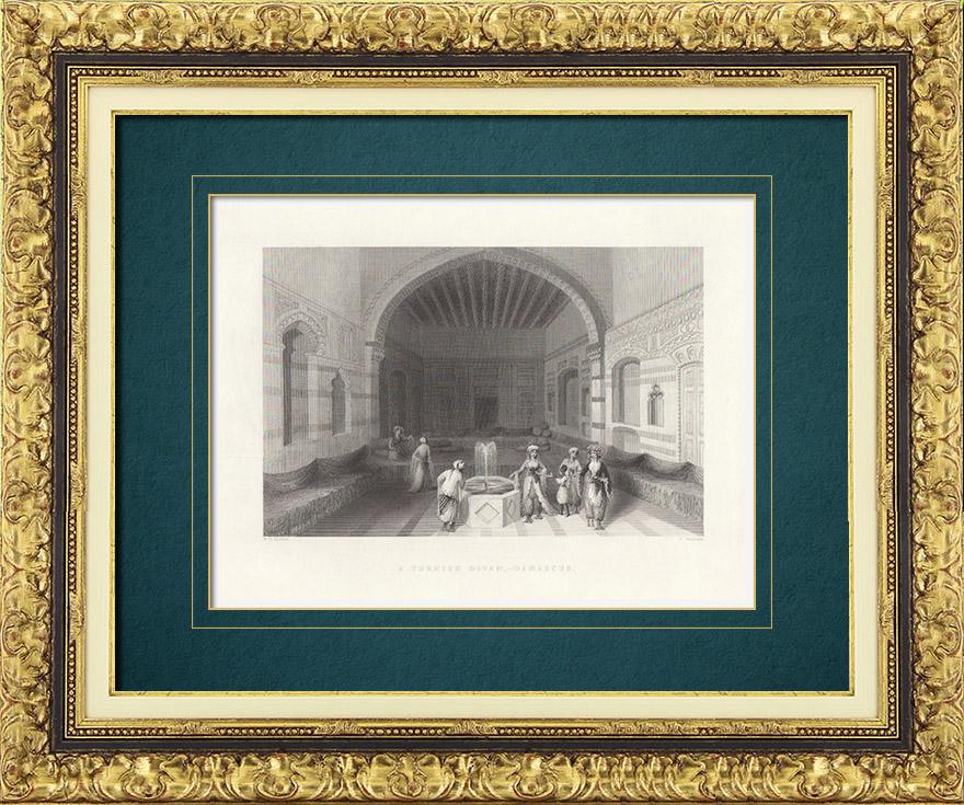 Gravures Anciennes & Dessins   Divan dans une maison de Damas (Syrie)   Taille-douce   1837