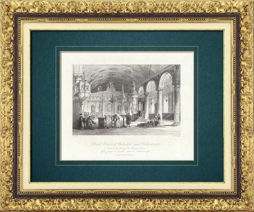 Gravures Anciennes & Dessins | Eglise grecque de Baloukli - Constantinople (Turquie) | Taille-douce | 1841