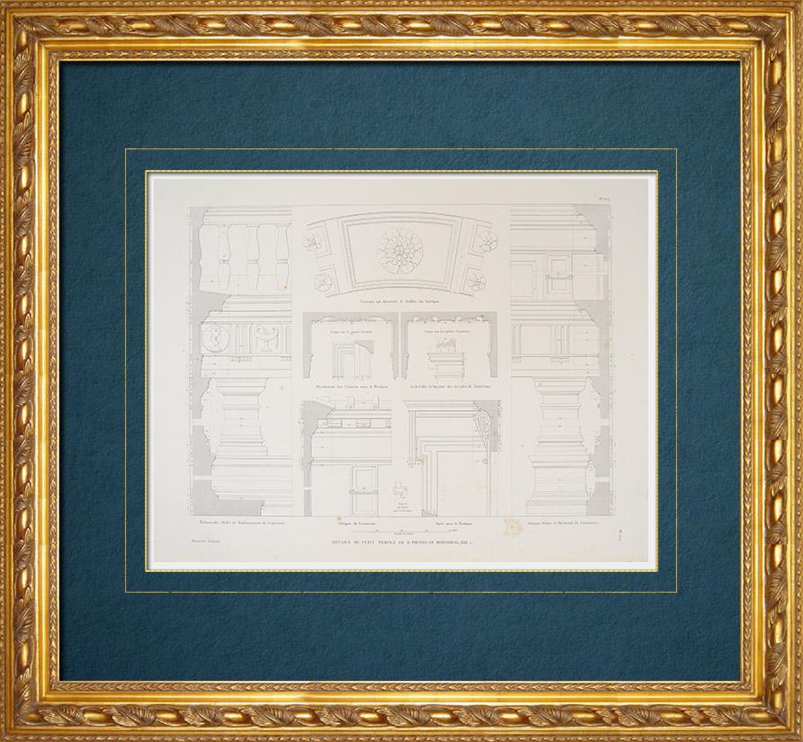 Antique Prints & Drawings   Architect's Drawing - Italy - Modern Rome - Tempietto de San Pietro in Montorio (Bramante)   Intaglio print   1843
