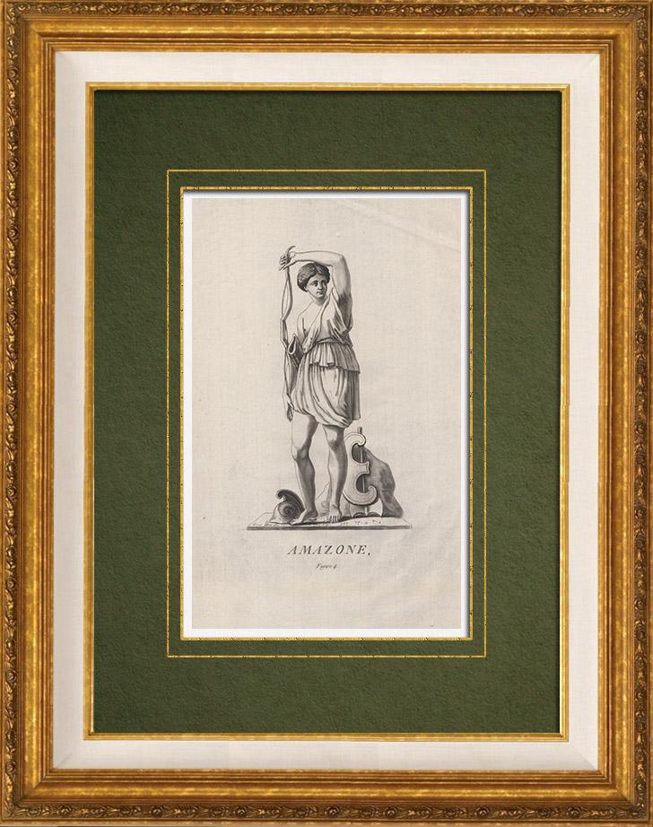 Gravures Anciennes & Dessins | Guerrière Amazone | Gravure sur cuivre | 1786