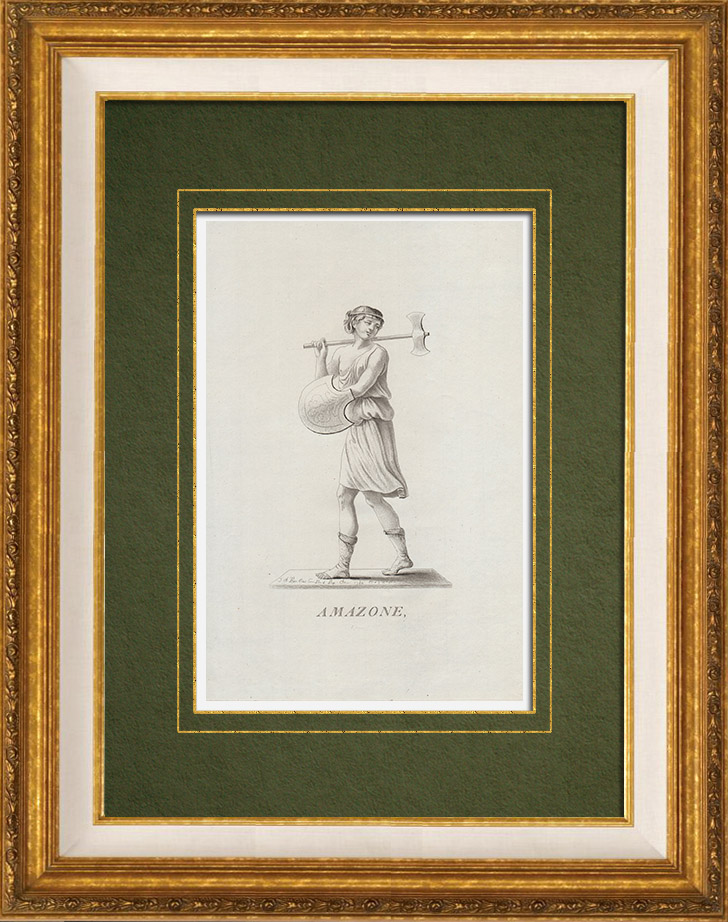 Gravures Anciennes & Dessins   Guerrière Amazone   Gravure sur cuivre   1784