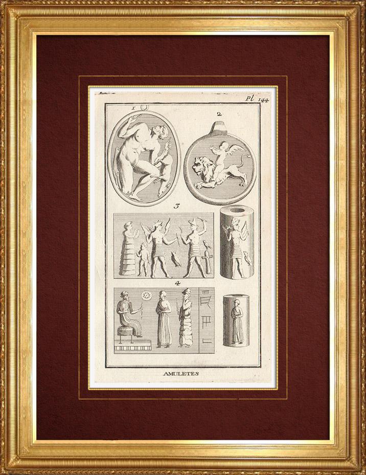 Gravures Anciennes & Dessins | Antiquité - Religion - Amulettes | Gravure sur cuivre | 1773