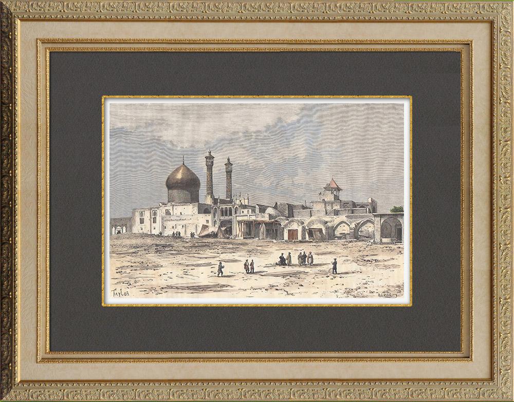 Gravures Anciennes & Dessins | Sanctuaire de Fatima Masoumeh à Qom (Iran) | Gravure sur bois | 1882