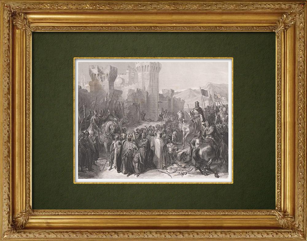 Gravures Anciennes & Dessins   Prise de Ptolémaïs - Philippe Auguste - Richard Coeur de Lion - Troisième croisade (1191)   Taille-douce   1860