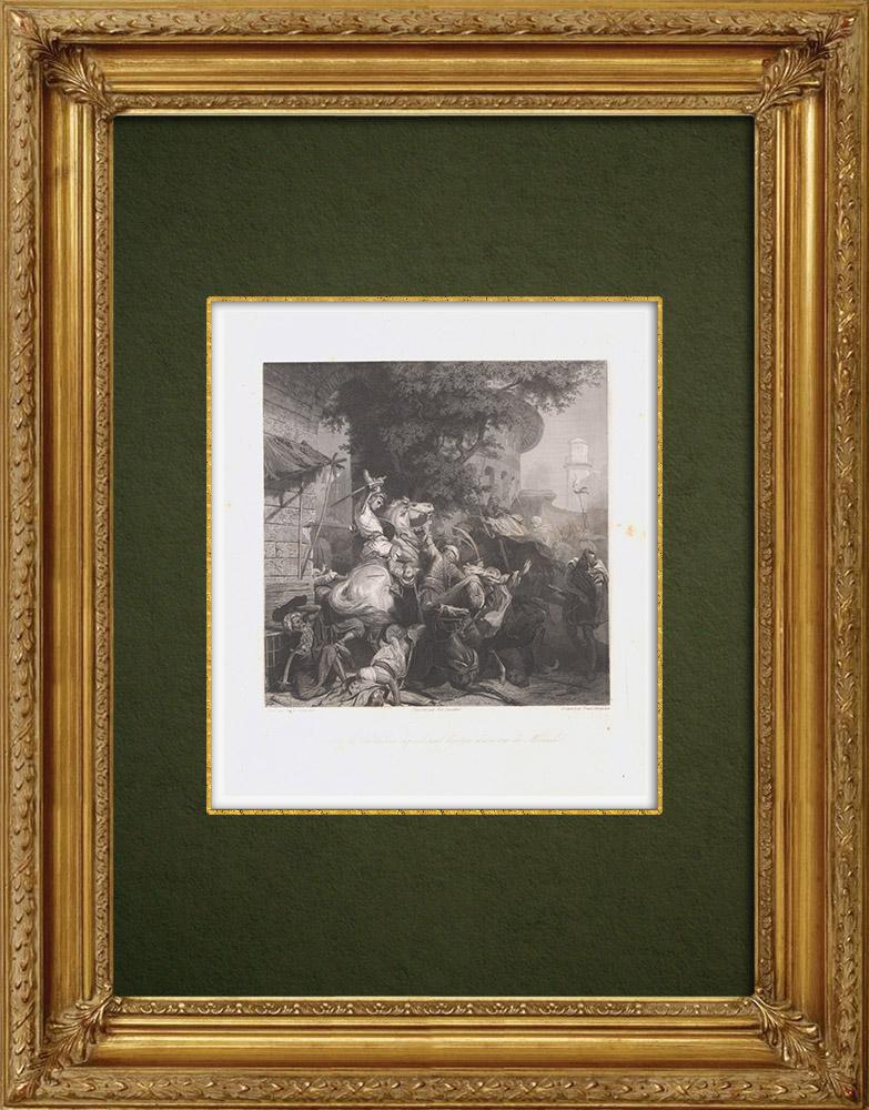 Gravures Anciennes & Dessins   Gaucher de Châtillon mort près de Mansourah - Septième croisade (1250)   Taille-douce   1860