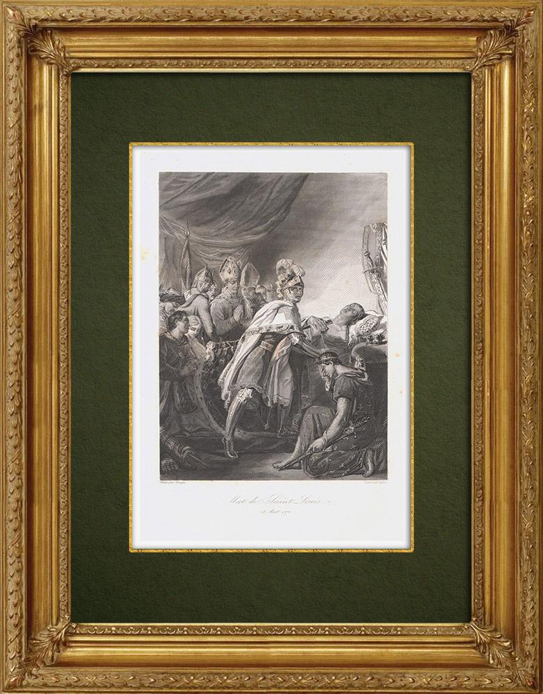 Gravures Anciennes & Dessins | Mort de Louis IX - Saint Louis - Huitième croisade (1270) | Taille-douce | 1860