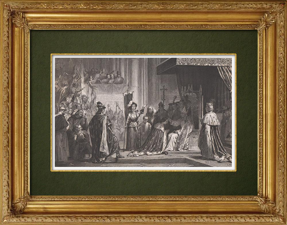 Gravures Anciennes & Dessins | Sacre de Charles VII à Reims (1429) | Taille-douce | 1860