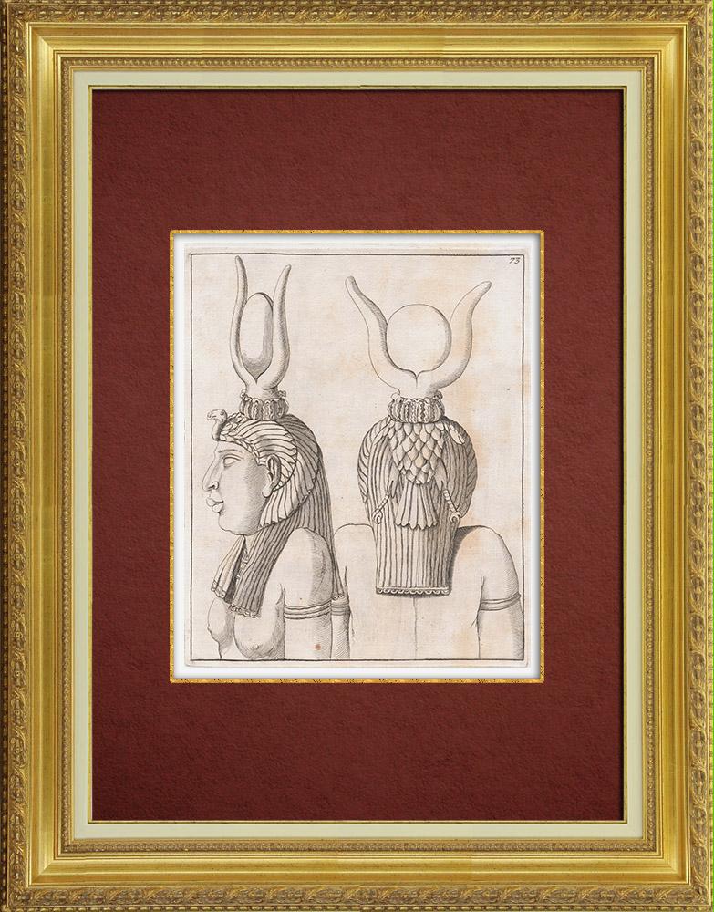Oude Prenten & Tekeningen | Oude Egypte - Isis - Hoorn - Zonneschijf | Kopergravure | 1767