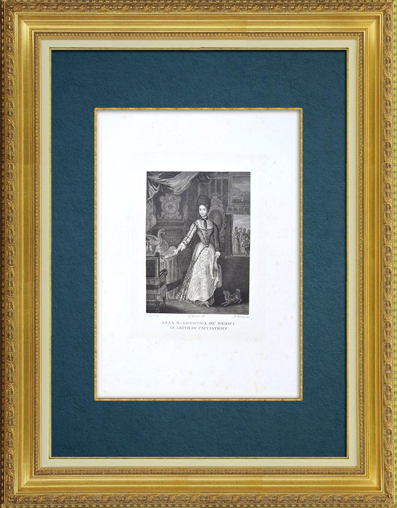 Gravures Anciennes & Dessins   Portrait de Anne-Marie-Louise de Médicis (Jan Frans van Douven)   Gravure à l'eau-forte   1842
