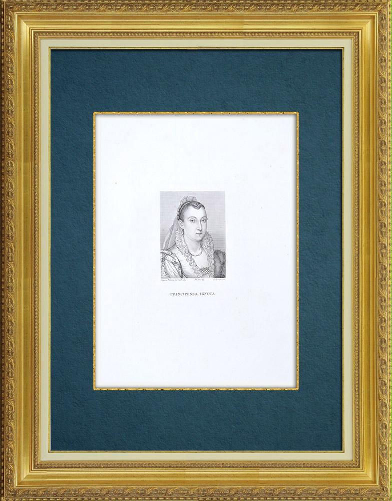 Gravures Anciennes & Dessins | Galerie Palatine - Florence - Portrait d'une Princesse inconnue (Scipione Pulzone) | Gravure à l'eau-forte | 1842