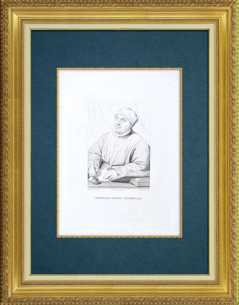 Gravures Anciennes & Dessins   Galerie Palatine - Florence - Portrait de Tommaso Inghirami (Raphaël)   Gravure à l'eau-forte   1842