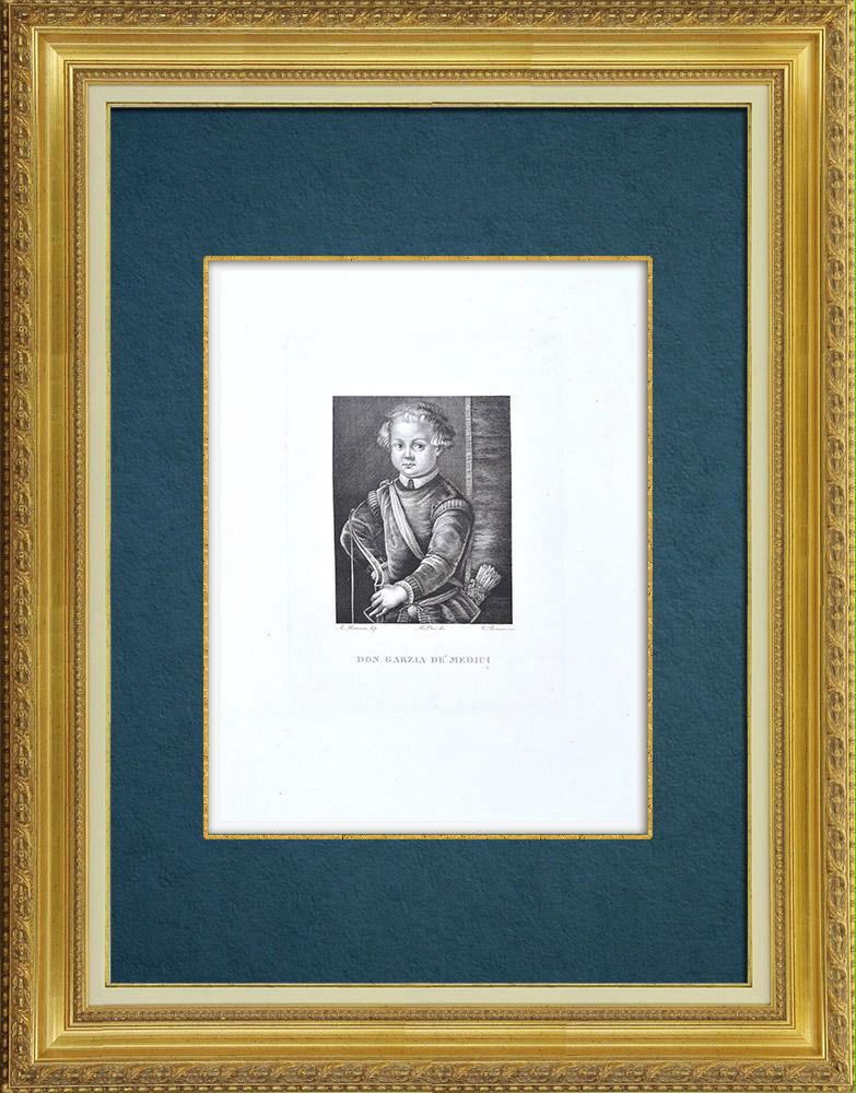 Gravures Anciennes & Dessins   Galerie Palatine - Florence - Portrait de Garzia de' Medici (le Bronzino)   Gravure à l'eau-forte   1842